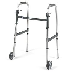 "Invacare I-Class Dual-Release Paddle Folding Walker with 5"" Wheels - Junior"