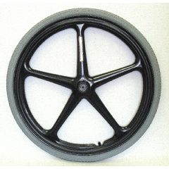 "New Solutions 24"" x 1 3/8"" (7/16"" Axle) Black 5 Spoke X-Core Rear Wheel w/ Narrow Hub (2.0"") Pair"