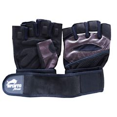 Spinto Men's Workout Glove w/ Wrist Wraps - Brown/Gray (XL)