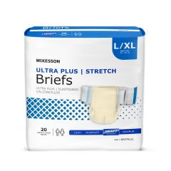 McKesson Ultra Plus Stretch Adult Heavy-Absorbent Incontinence Brief, Large / X-Large, Beige