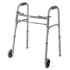 "Medline Youth Two-Button Folding Walkers with 5"" Wheels"
