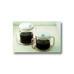 Transparent Mugs - Double Handle Mug w/ Lid, 10 oz, each