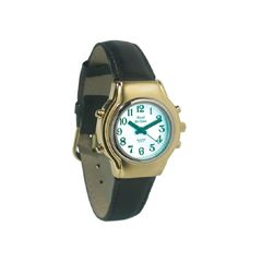 Ladies Bi-Color Royal Tel-Time Talking Watch w/White Dial-Leather Band
