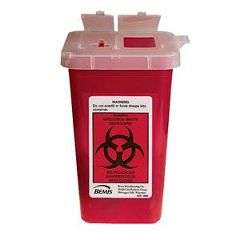 Cardinal Health Phlebotomy Sharps Container 1 Qt. with Attached Top and Dual Openings