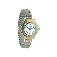 Ladies Royal Tel-Time Bi-Color Talking Watch w/White Dial - Expansion Band
