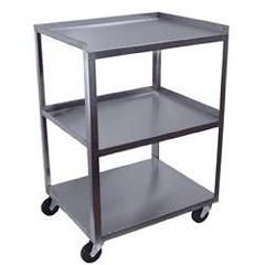 3 Shelf Stainless Steel Cart With A Power Strip
