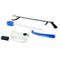 """FabLife Hip Kit 1b; 32"""" Reacher, Hourglass Sponge, Formed Sock Aid, 18"""" Plastic Shoehorn"""