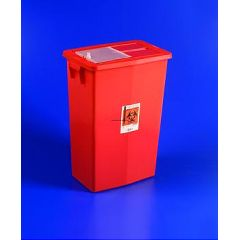 SharpSafety Large Volume Sharps Container Sliding Lid - 18 gallon, Red