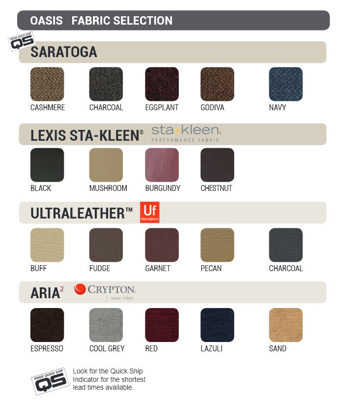 Pride Oasis Collection Fabric Selections