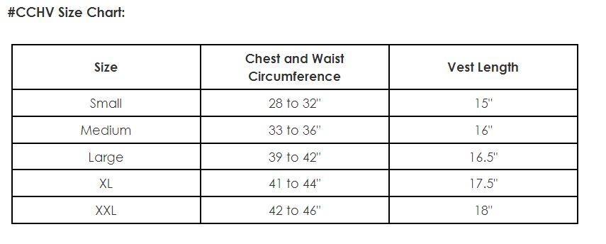 Size Chart for Cool Comfort Cooling Hidden Vest