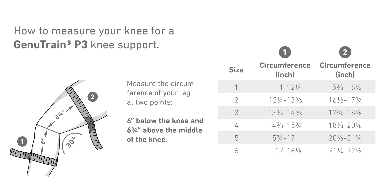 GenuTrain P3 Knee Brace Sizing