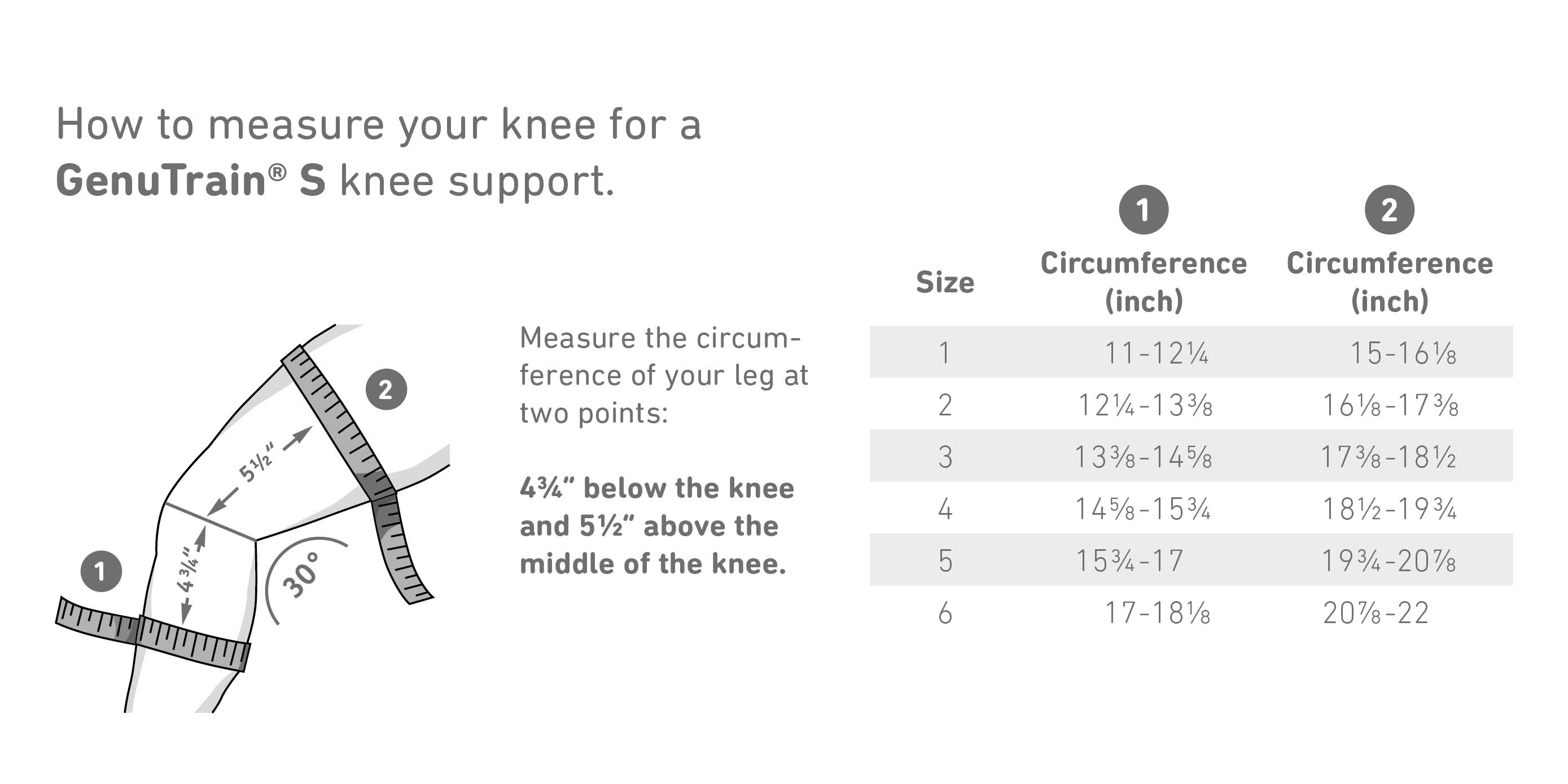 GenuTrain S Knee Brace Sizes