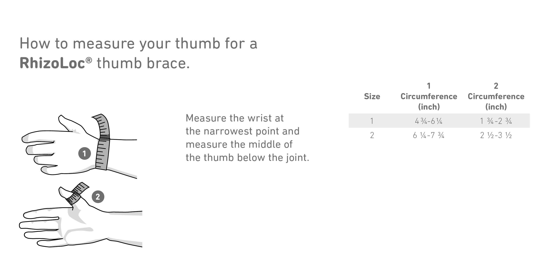 RhizoLoc Thumb Support Size Chart