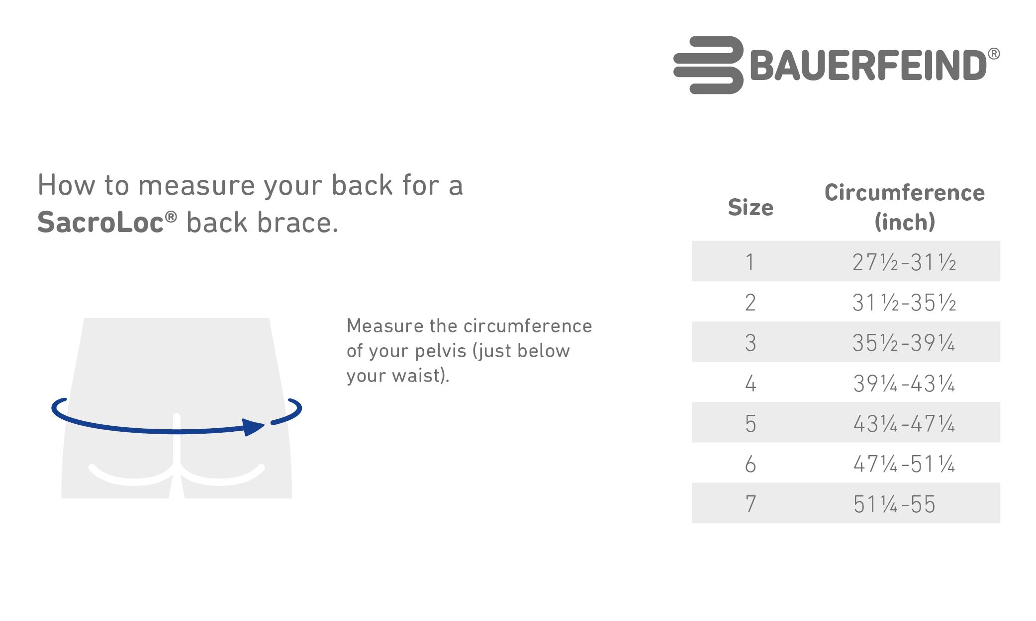 SacroLoc Back Sizing Chart