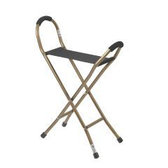 Drive Folding Lightweight Cane with Sling Style Seat - Fixed Height