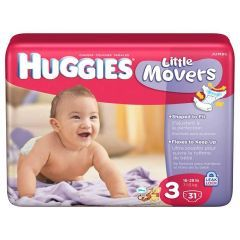 Huggies Little Movers Baby Diapers - Size 3 Weight Range 16 - 28 lbs. - Case of 112