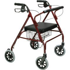 Go-Lite Bariatric Steel Rollator Walker - Padded Seat & Hand Brakes