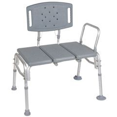 Bariatric Transfer Bench With Back - 500 lbs Capacity - Plastic Bench