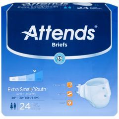 Attends Breathable Briefs- Youth/Extra Small 20