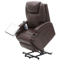 Mercury Luxury Lift Chair Black | 100% Genuine Leather | Infinite Positions | Heat & Massage - Black