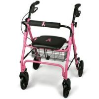 Breast Cancer Awareness Pink 4 Wheeled Rollator  - Case of 1
