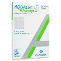"""AQUACEL® Ag Advantage Enhanced Hydrofiber Dressing with Silver 8"""" x 12"""" - Box of 5"""