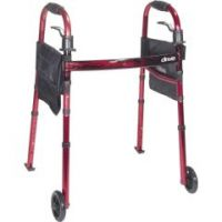 Deluxe Travel Folding Walker With Fold Up Legs and Pouch  - Each
