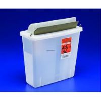 In-Room Sharps Container with Always-Open Lid -  5 Qt, Clear