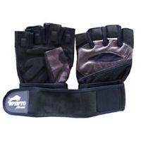 Spinto Men's Workout Glove w/ Wrist Wraps - Brown/Gray (LG) - 1 pair