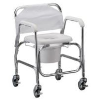 """Shower Chair and Commode with 4"""" Locking Swivel Wheels - Each"""