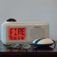 Lifetone HLAC151 Bedside Vibrating Fire Alarm and Clock - Lifetone HLAC151 Bedside Vibrating Fire Alarm and Clock
