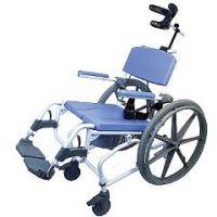 "Healthline 190 Aluminum Shower Commode Chair - Tilt - 190-24 - WITH 24"" Wheelchair Wheels"
