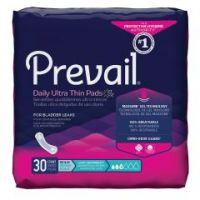Prevail Daily Pads Adult Disposable Light-Absorbent Bladder Control Pad, 9-1/4 Inch - Bag of 30