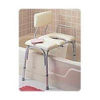 Vinyl-Padded Bathtub Transfer Benches - With Cut-Out And Commode Pail