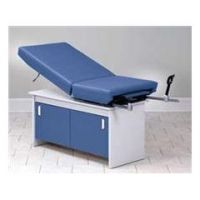 Clinton Exam Table with Stirrups - Natural/Aztec Blue