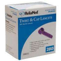 ReliaMed Twist & Cap Lancets - 28 Gauge - Box of 100
