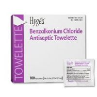 "Sanitizing Skin Wipe Hygea® Individual Packet BZK (Benzalkonium Chloride) 5"" x 7"" Scented - Box of 100"