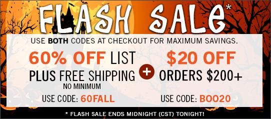 Orange Friday FLASH SALE - 60% off List + FREE Shipping No Minimum + $20 off $200